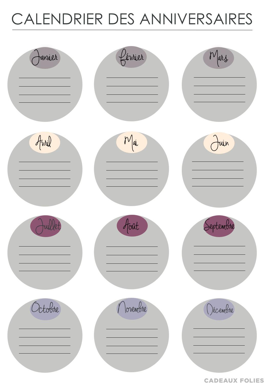 un calendrier des anniversaires printable gratuit le blog de cadeauxfolies. Black Bedroom Furniture Sets. Home Design Ideas