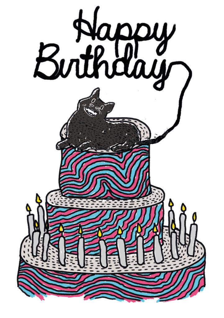 carte anniversaire chat