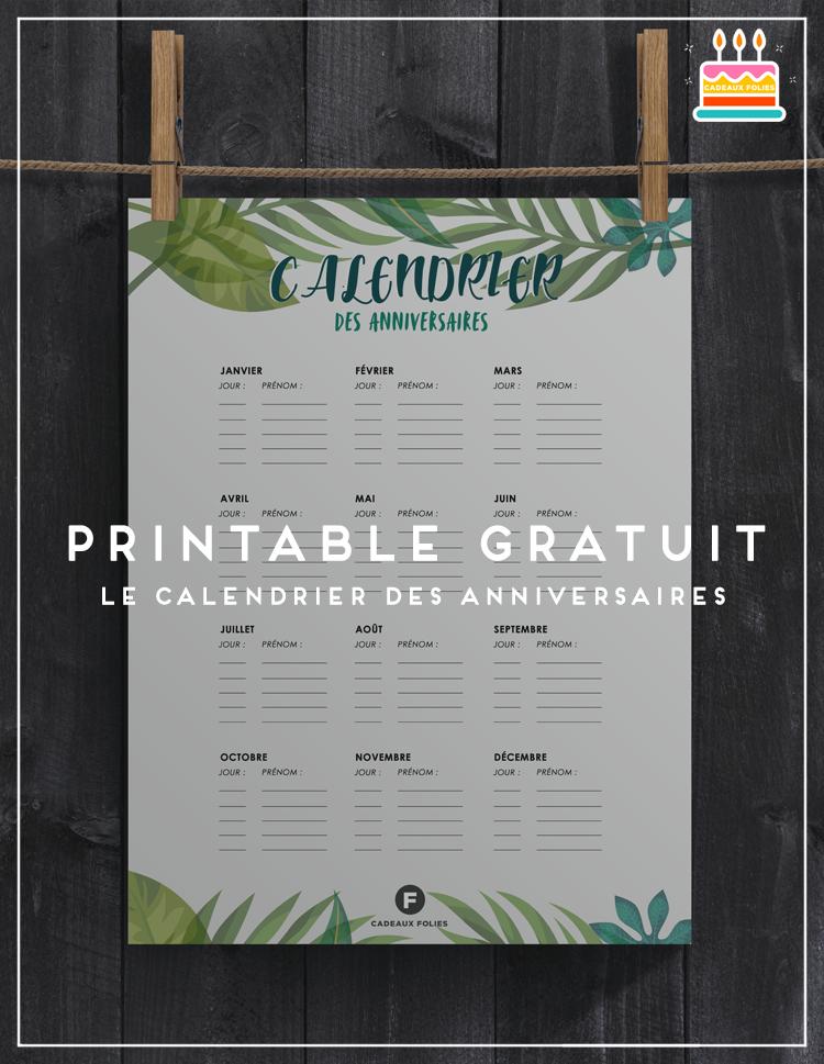 Calendrier Des Anniversaires Cool Et Tropical à Imprimer