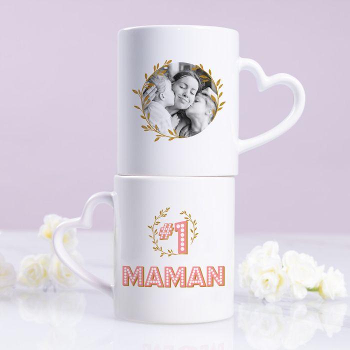 cadeau fête des Mères Tasse Poignée Cœur #1 Maman avec Photo