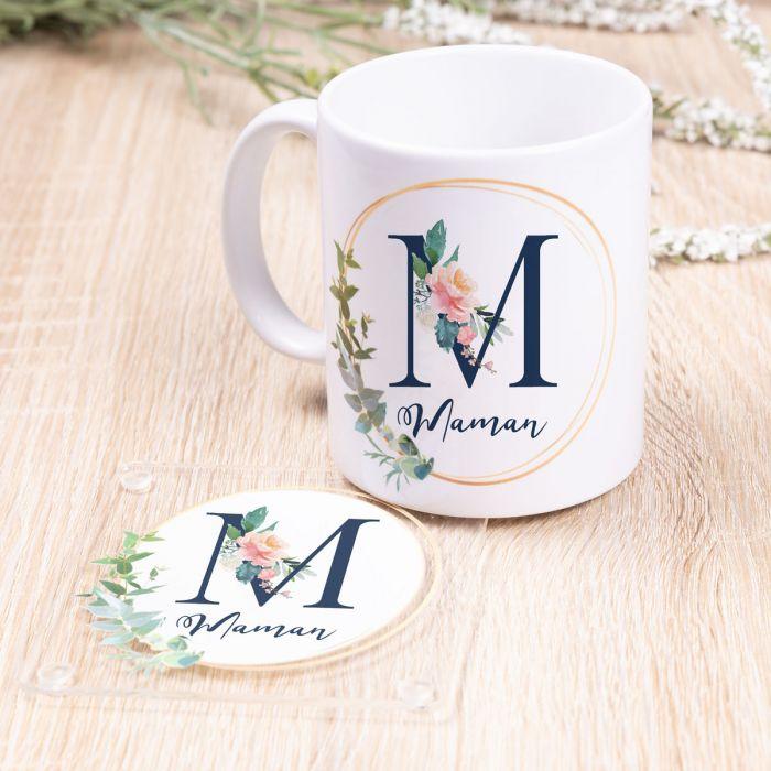 cadeau fête des Mères Tasse Maman avec sous-verre