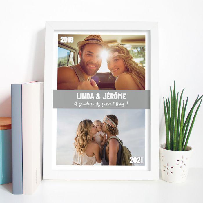 décoration table de mariage Poster avec 2 photos et texte