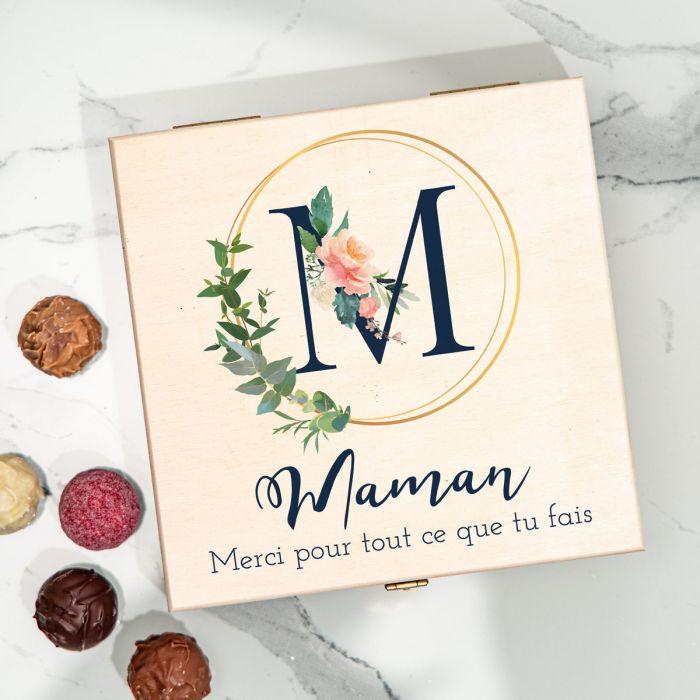fête des Mères oîte de Chocolats Monogramme avec Texte