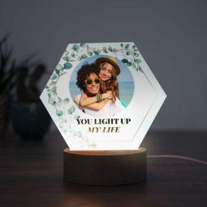 Lampe LED personnalisée avec photo d'un couple