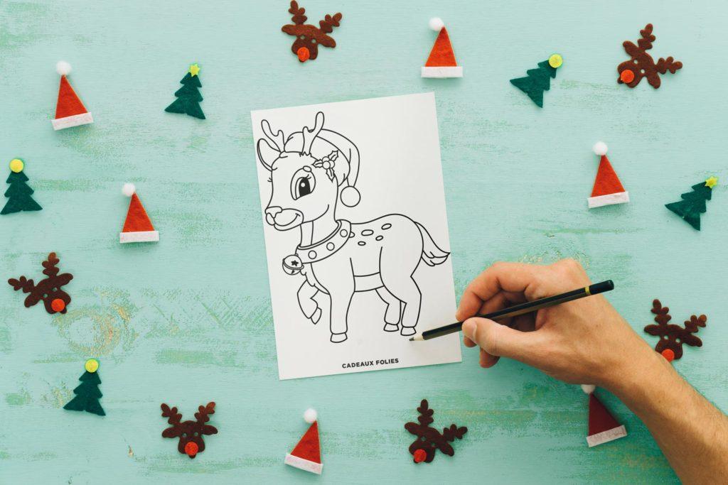 Dessin de renne tout mignon à colorier