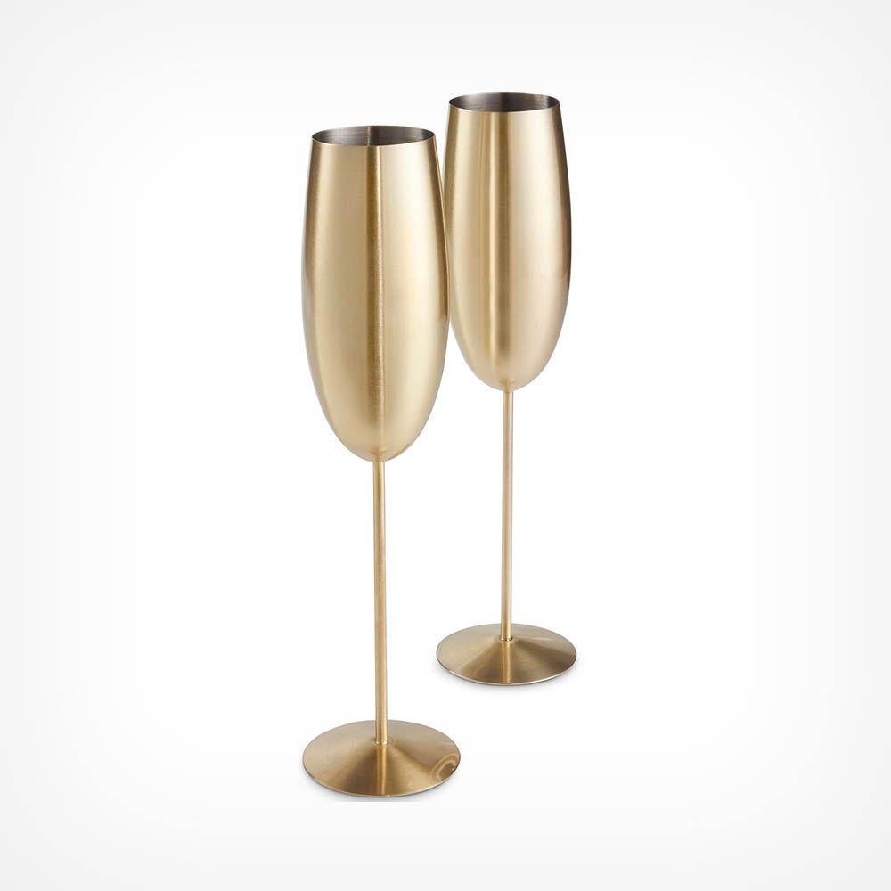 Lot de 2 flûtes à champagne dorées