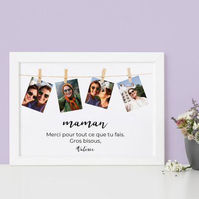 Poster corde à linge avec photos et texte