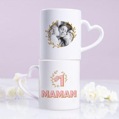 Tasse Poignée Cœur #1 Maman avec Photo