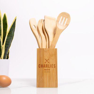 Set de cuillères en bois personnalisable, avec boîte de restaurant