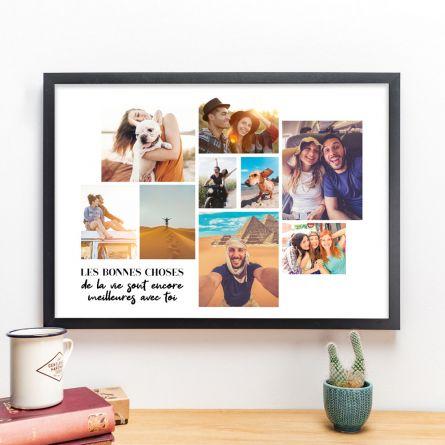 Poster avec Mosaïque de photos et texte