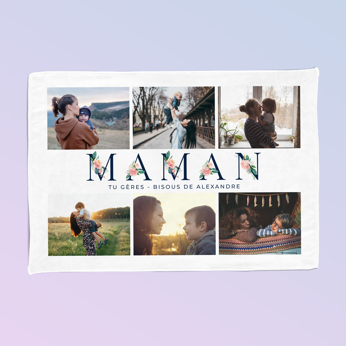 Couverture Maman avec 6 Photos et Texte