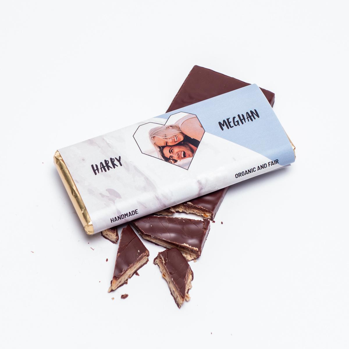 Chocolat Personnalisable Photo, Cœur & Texte