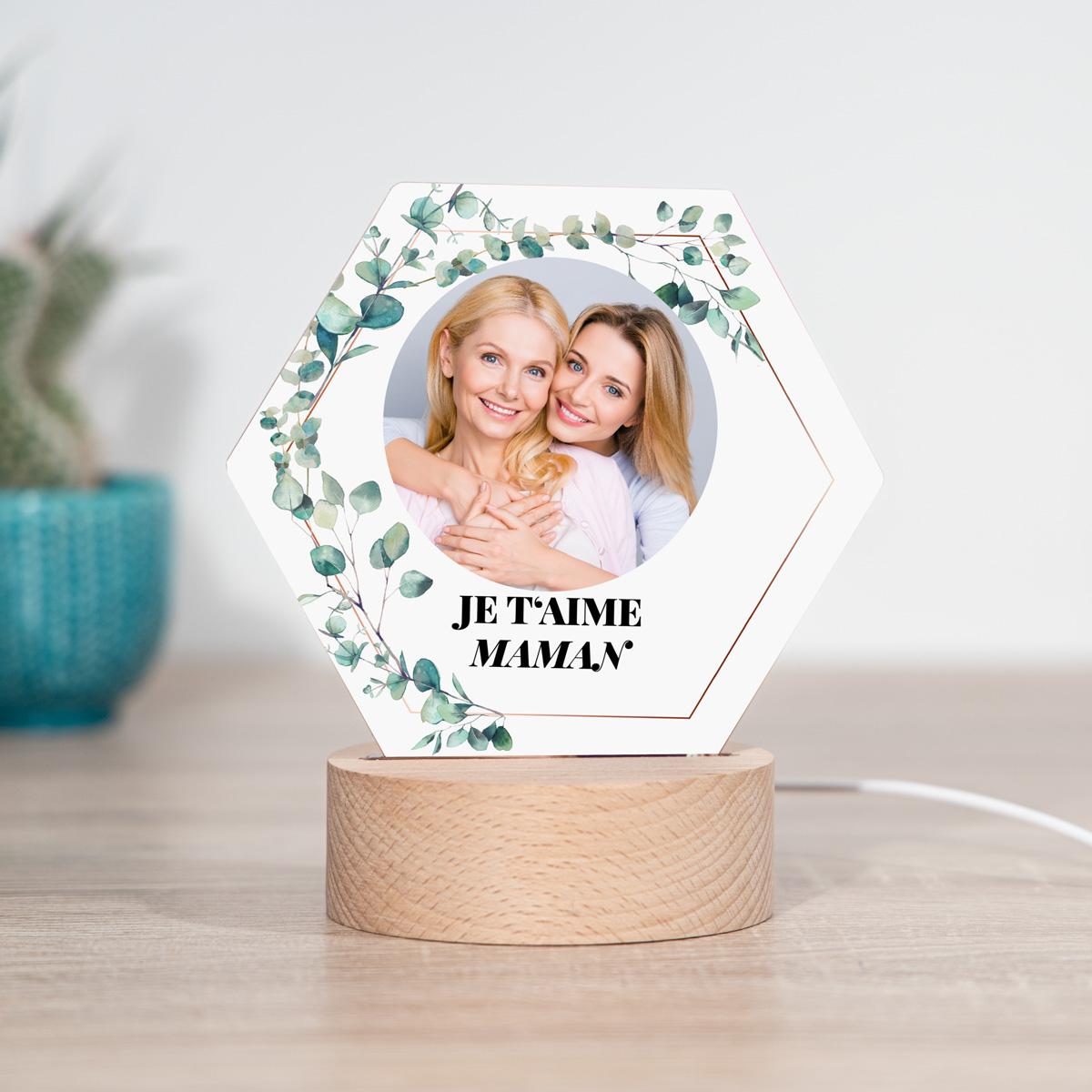 cadeau maman Lampe LED Hexagonale avec Photo et Texte