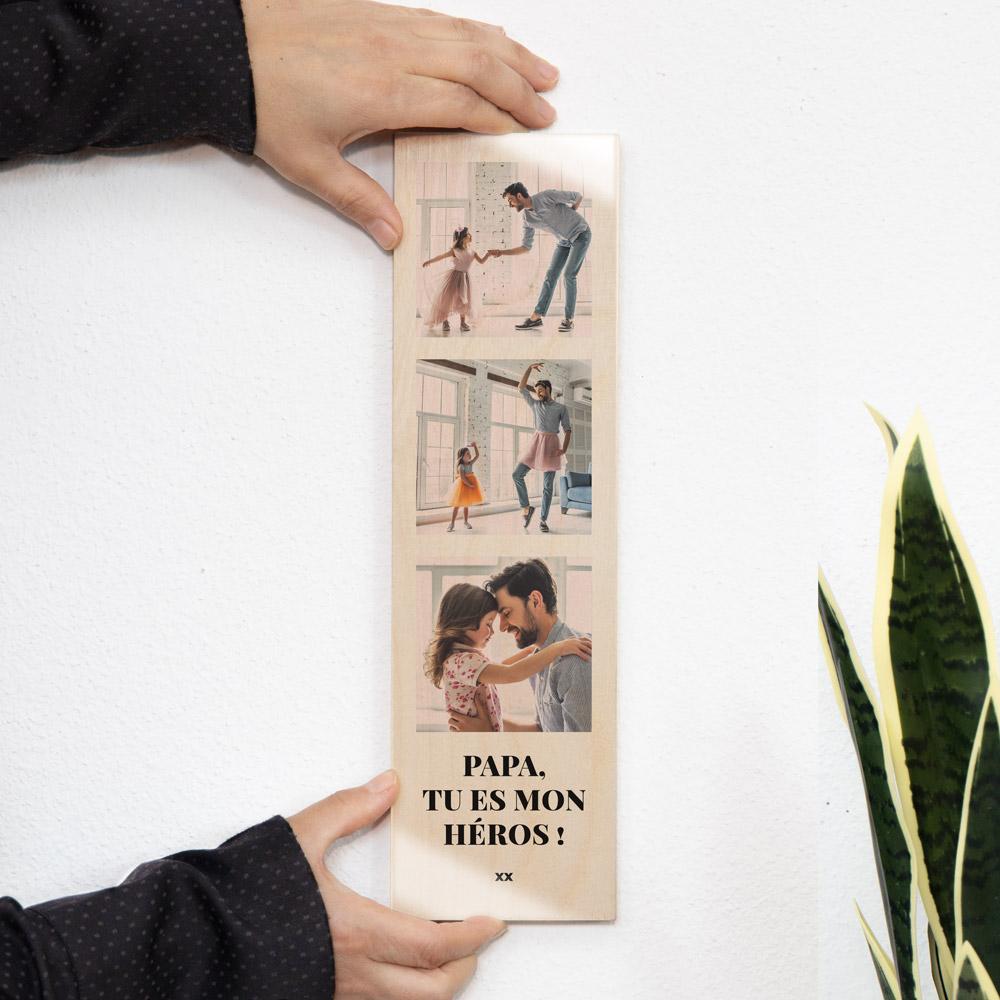 cadeau fête des Pères Photo sur bois verticale avec 3 photos et texte