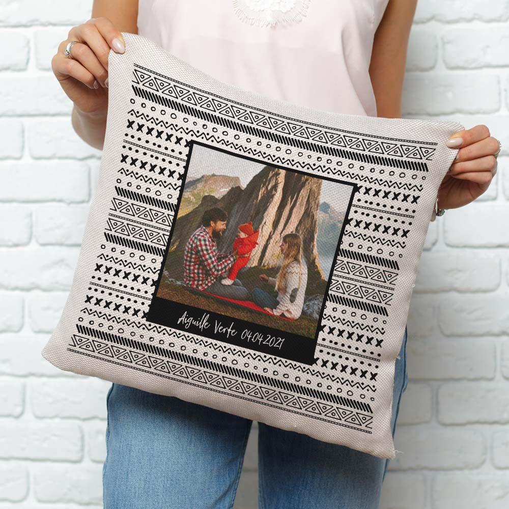 cadeau maman Housse de Coussin Personnalisable Photo & Texte