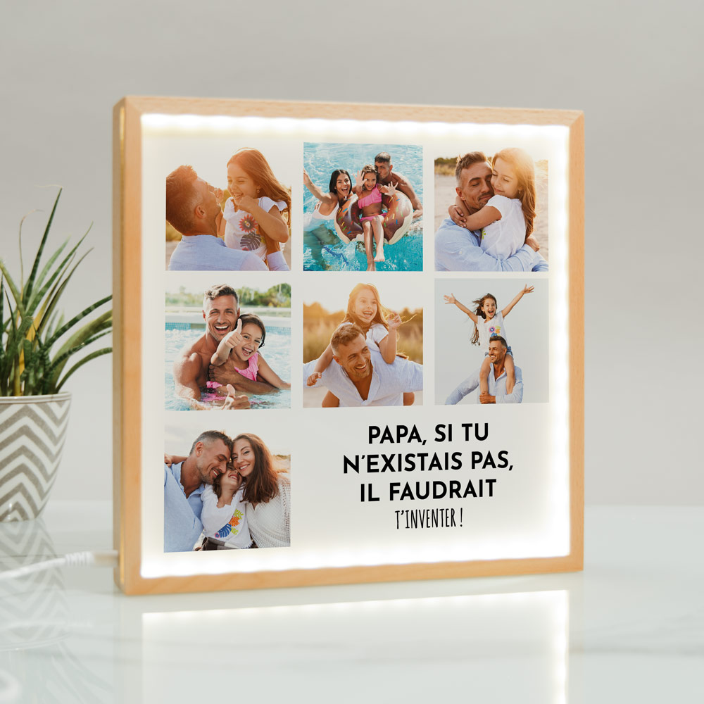 cadeau fête des Pères Light Box Cadre Lumineux avec 7 photos et texte