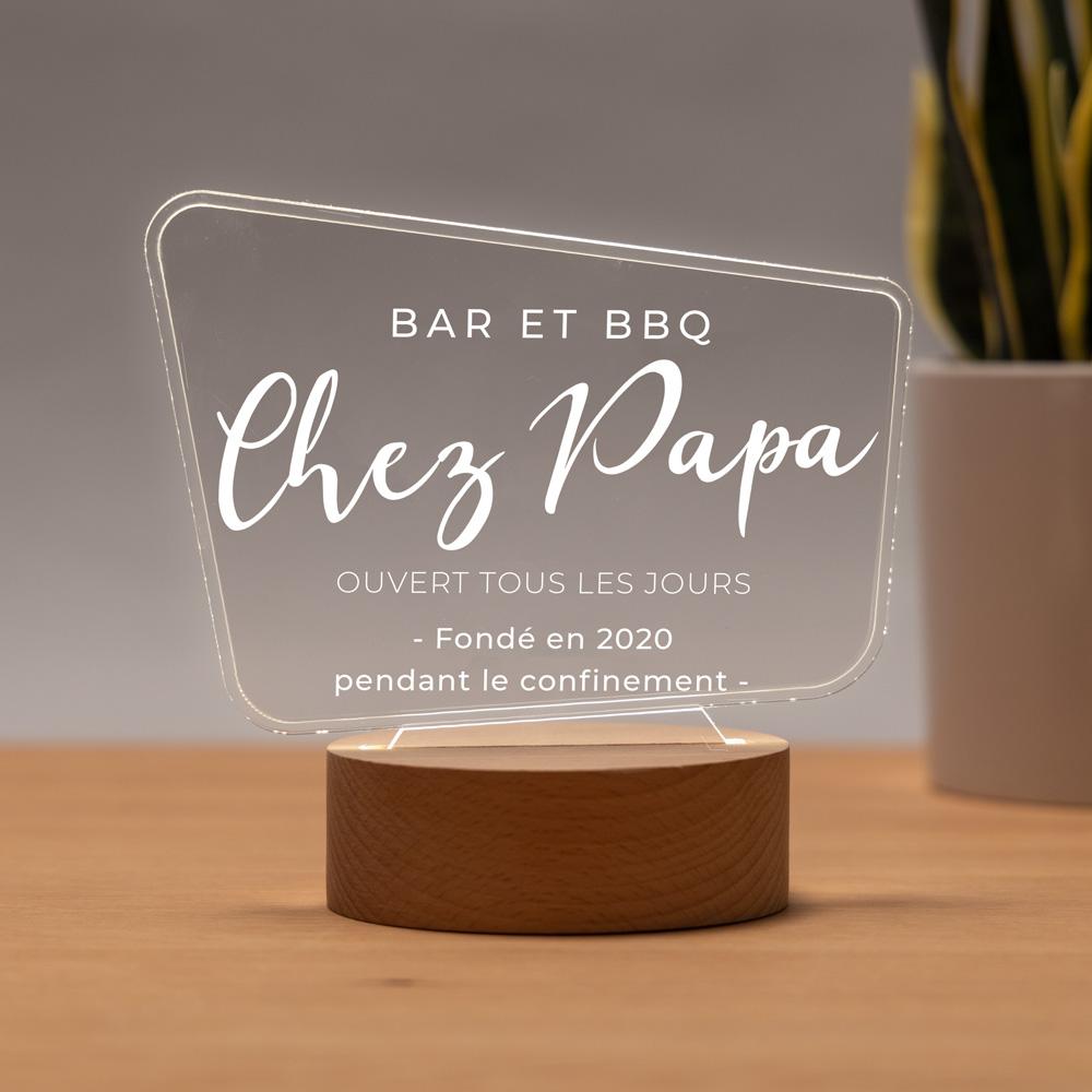 cadeau fête des Pères Lampe LED style panneau d'affichage avec texte
