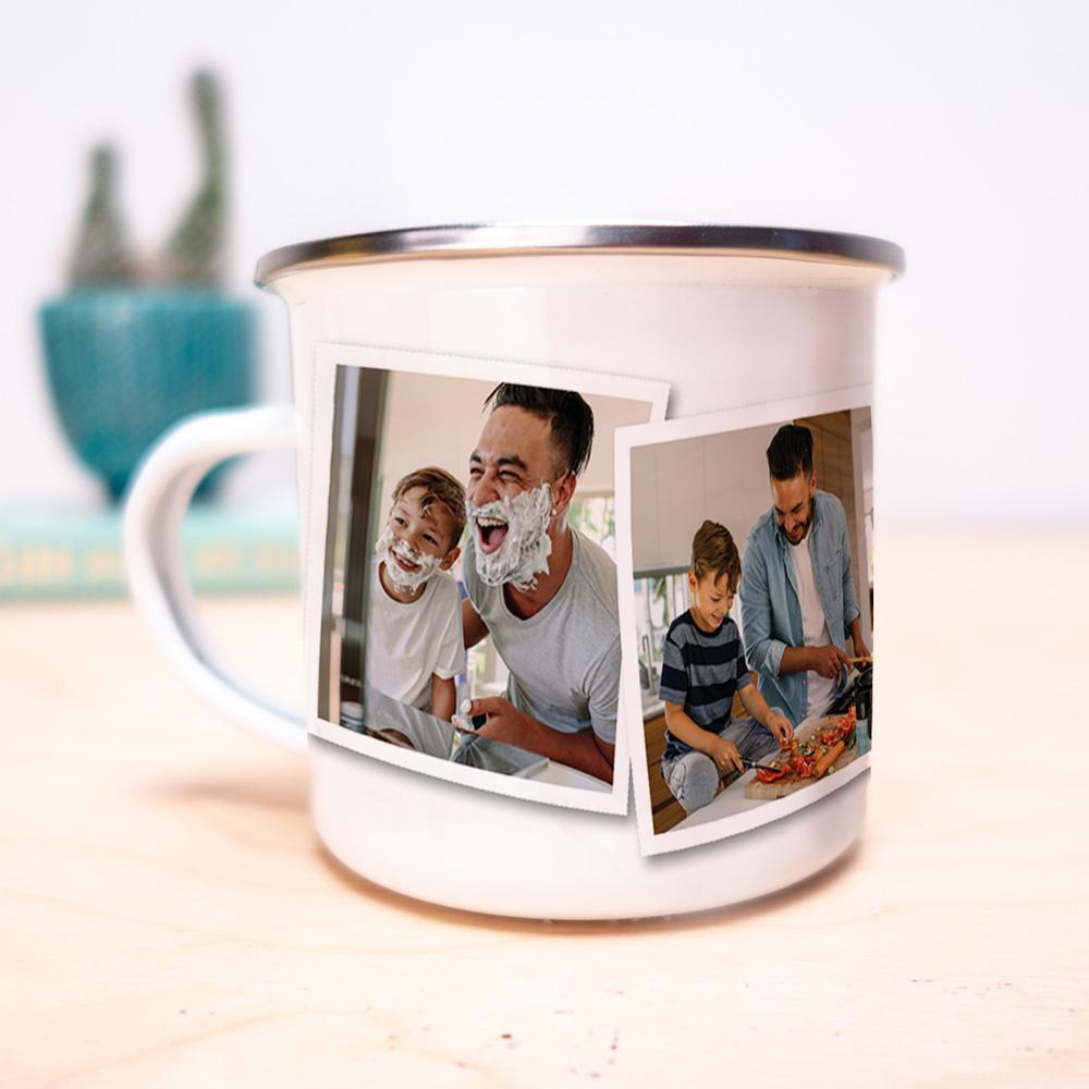cadeau papa Tasse en métal personnalisable avec photos