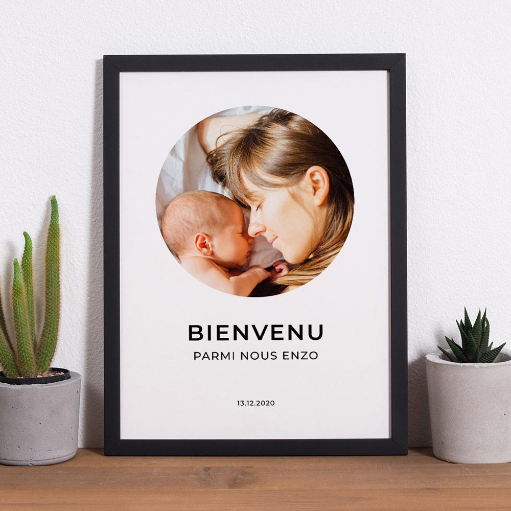 cadeau maman Poster avec photo et 3 lignes de texte
