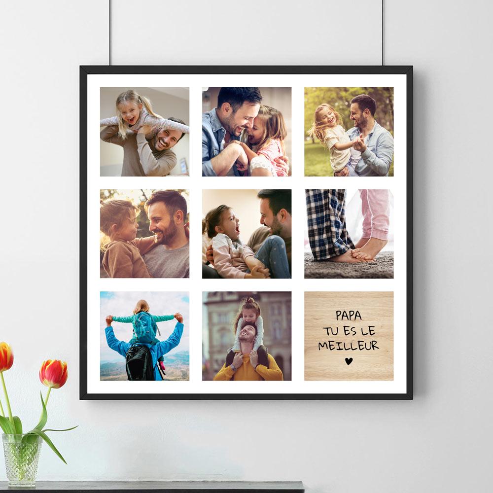 cadeau papa Poster Photo Personnalisable - 8 Images + Texte