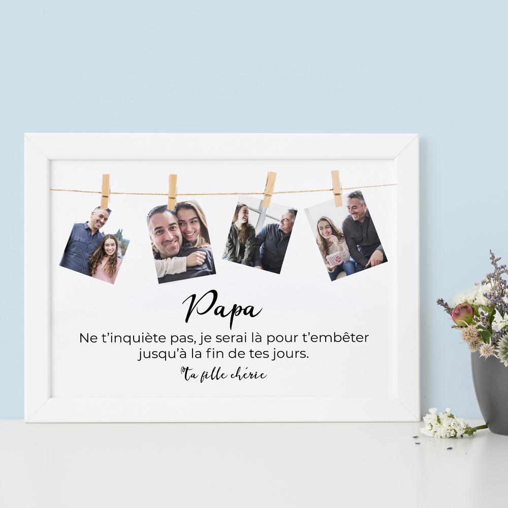 cadeau fête des Pères Poster corde à linge avec photos et texte