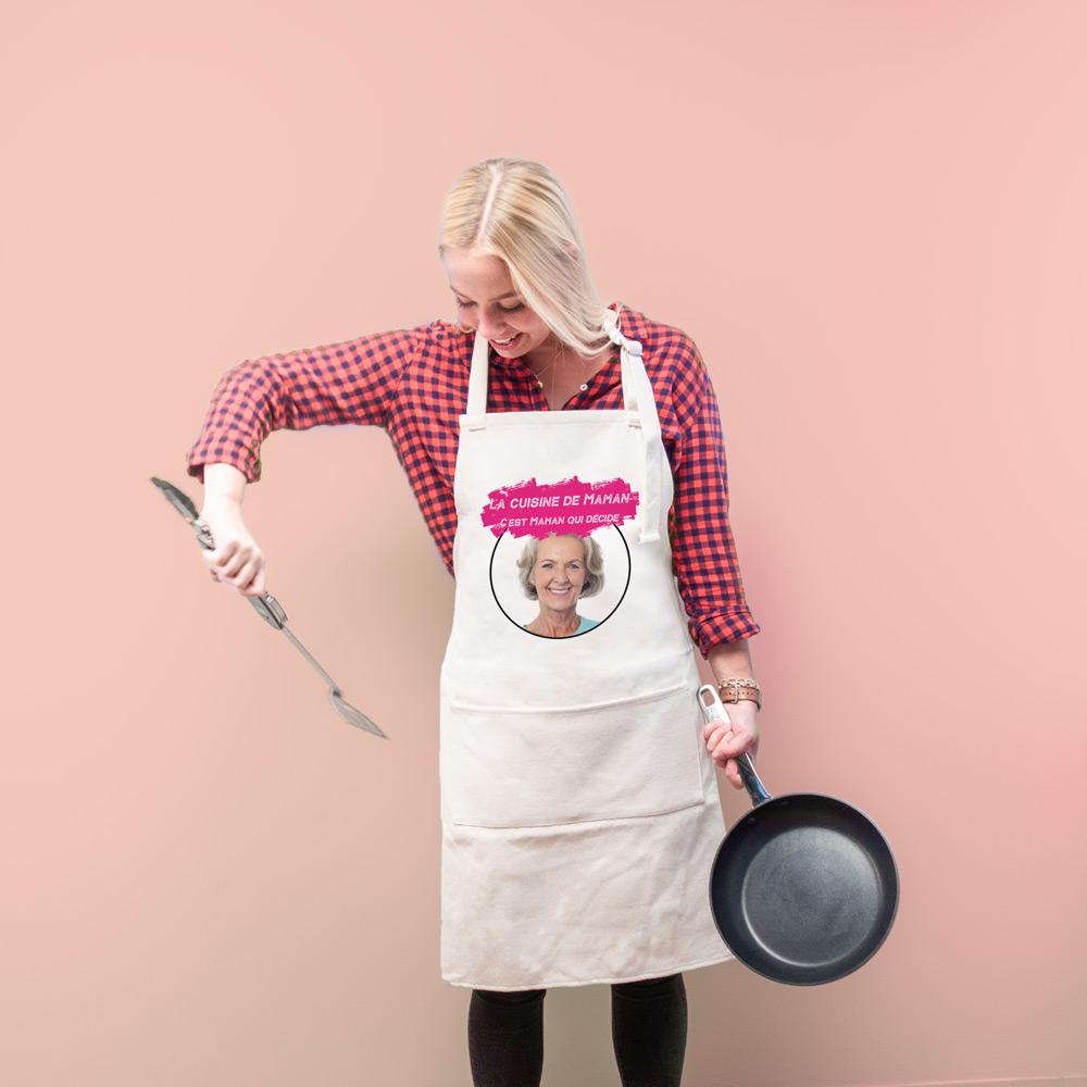 cadeau fête des Mères Tablier de cuisine personnalisable avec couleur