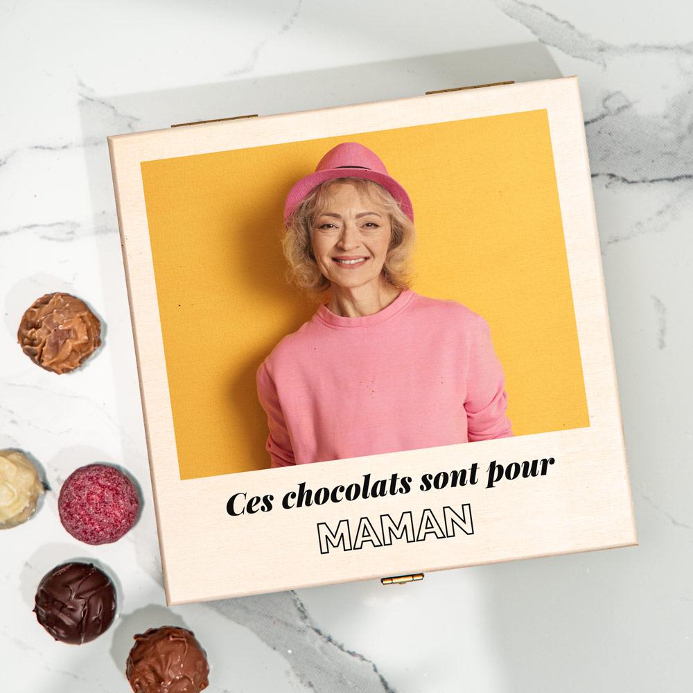 cadeau maman Boîte de chocolats avec photo et texte