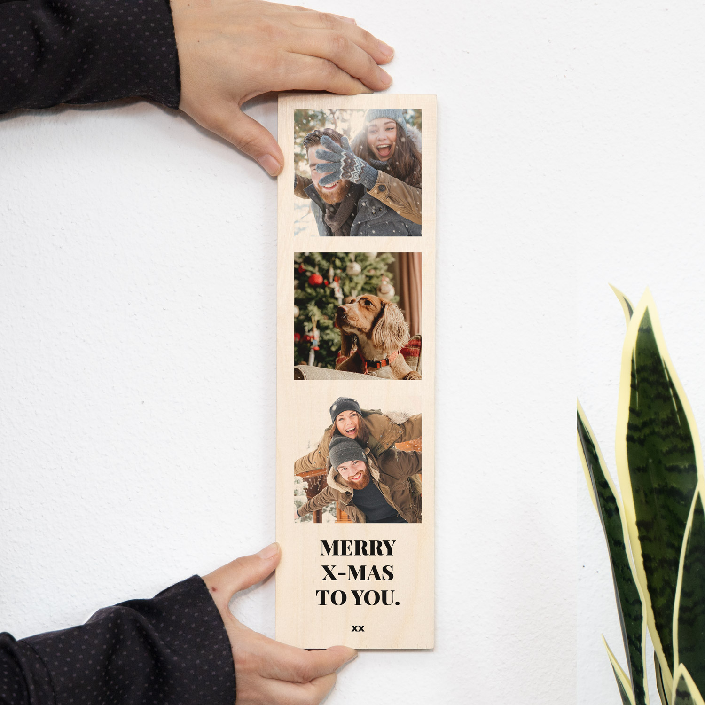 cadeau de noel photo sur bois verticale avec 3 photos et texte
