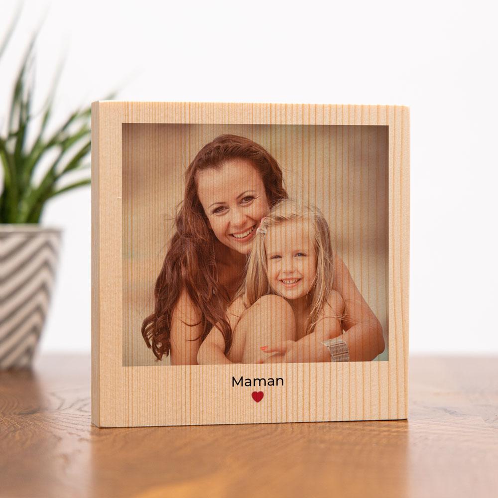 cadeau maman Photo carrée sur bois avec image et texte