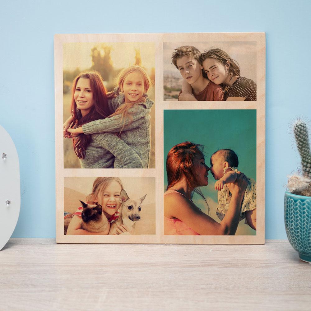 cadeau maman Photo Personnalisable sur Bois - 4 Images