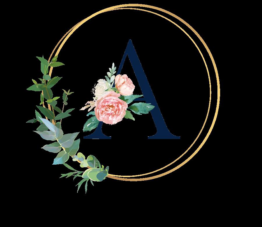 Bademantel Blumen Monogramm und Text - A