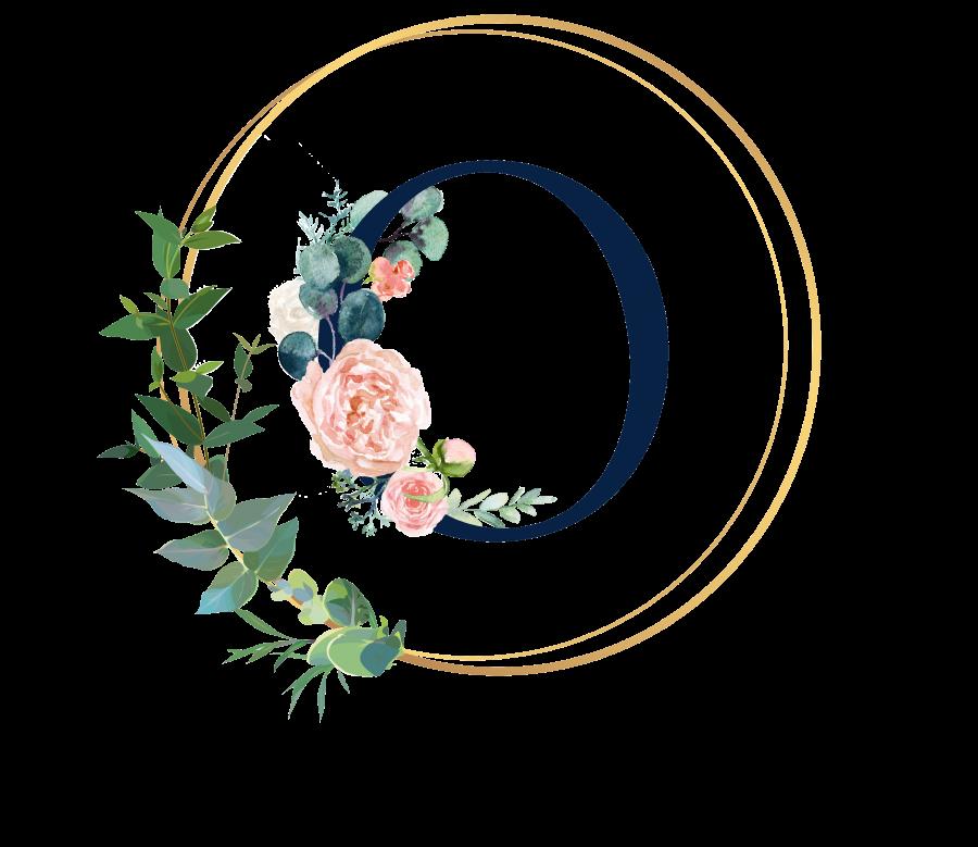 Bademantel Blumen Monogramm und Text - O