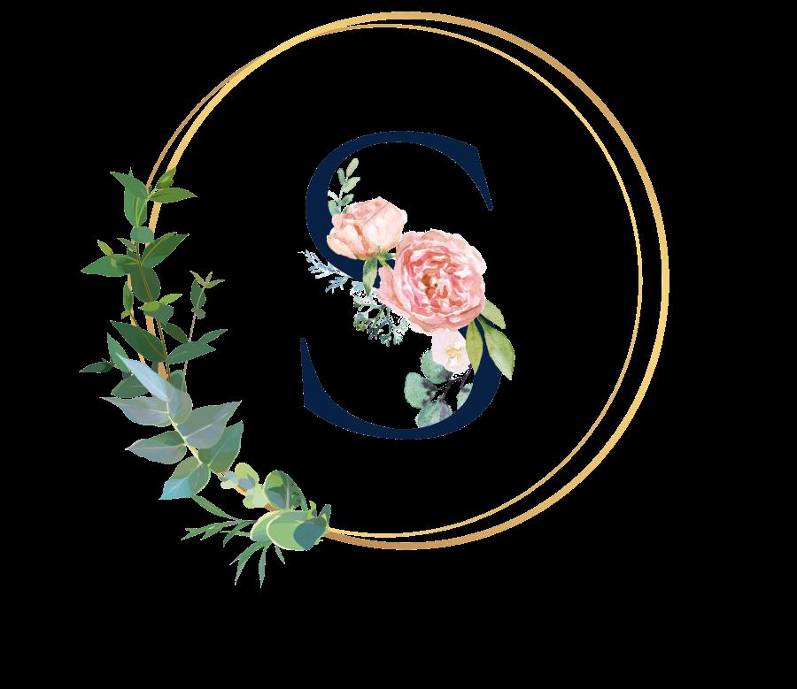 Bademantel Blumen Monogramm und Text - S