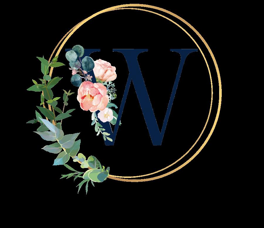 Bademantel Blumen Monogramm und Text - W