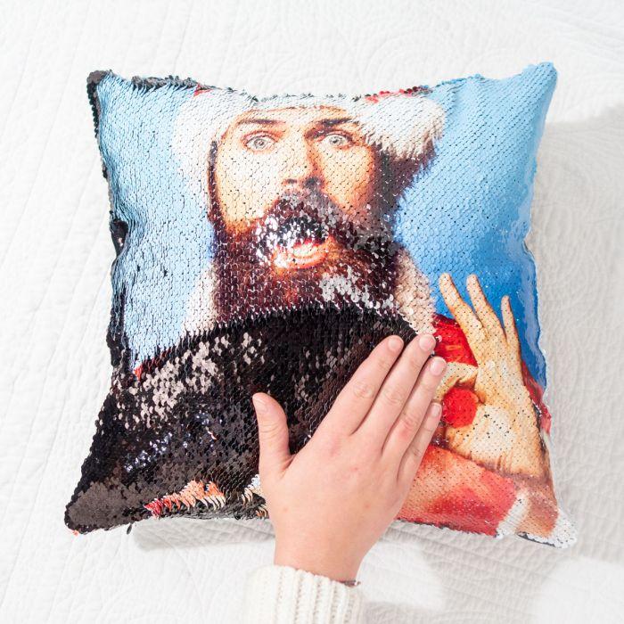 Cadeau de Noël femme : le coussin photo personnalisable & paillettes
