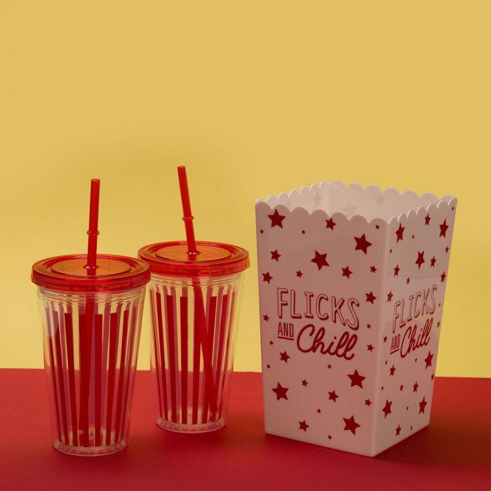 Kit Comme au cinéma – Boîte à Pop-corn & Gobelets