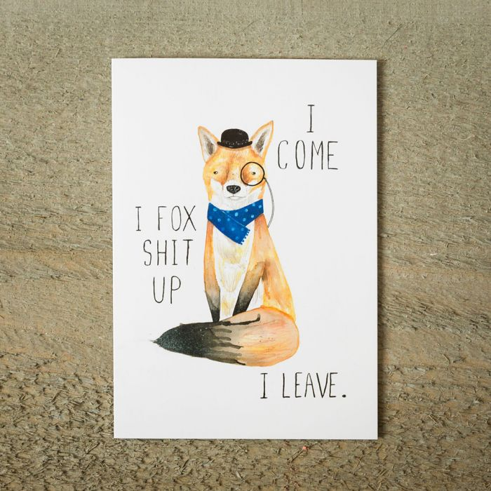 Carte de vœux Fox Shit Up