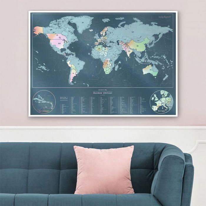 Carte du monde à gratter irisée