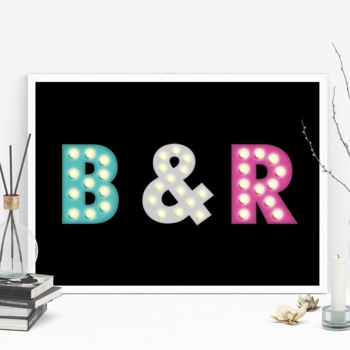 Affiche personnalisable avec initiales colorées