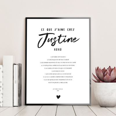 Poster Personnalisable Ce Que J'aime Chez…