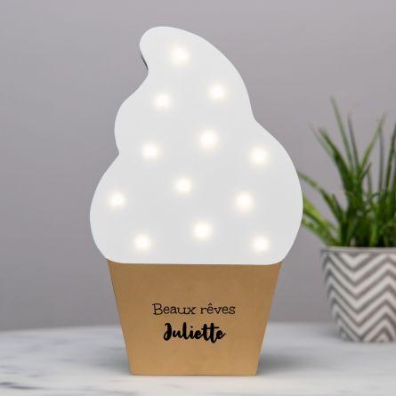 Lampe LED avec texte Glace
