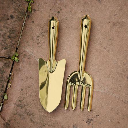 Set 2 outils de jardinage dorés