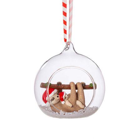 Boule de Noël maman & bébé Paresseux