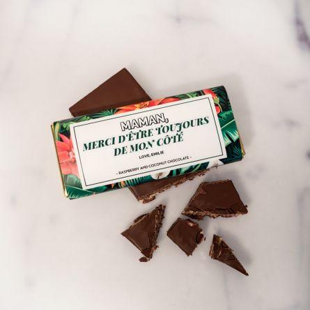 Chocolat avec motif floral et texte personnalisé