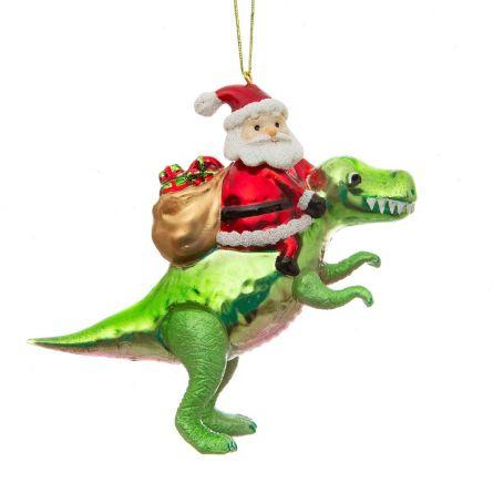 Boule de Noël Père Noël avec dinosaure