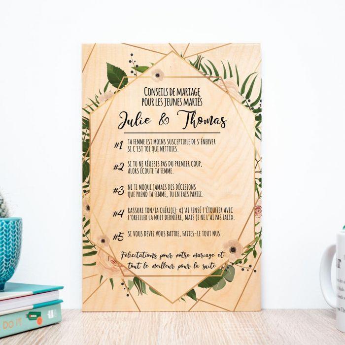 Poster en bois personnalisable avec de bons conseils