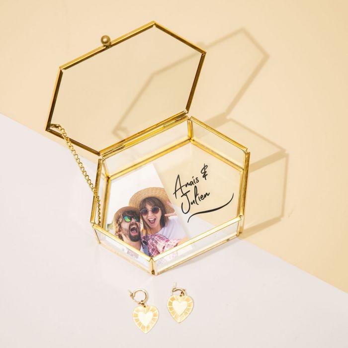 Boîte en verre avec image et texte