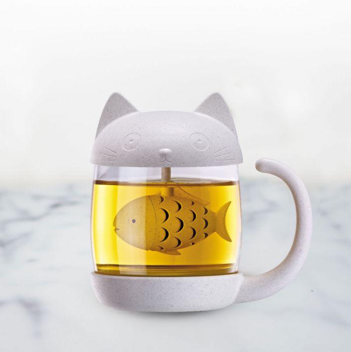 Tasse à Thé Chat avec Infuseur à Thé Poisson