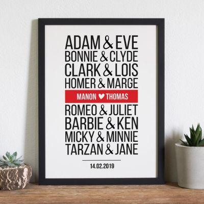 08e63a36704 Cadeau Saint Valentin Homme - Poster Personnalisable Couples Célèbres -  Version Moderne