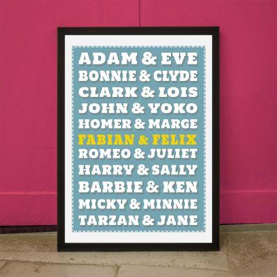 Cadeau mariage - Poster personnalisable Couples Célèbres